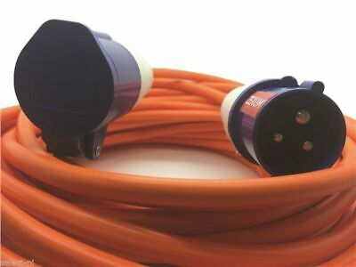 16A Orange Mains Hook Up 2.5mm Extension Cable, Choose Length - Caravan, Marine