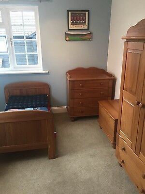 Solid pine 5 piece nursery furniture set- Cot/Cotbed, drawers, wardrobe etc..