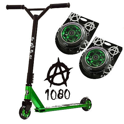 1080 Jury Stunt Scooter Alloy Custom Deck - Green with Spare Wheels