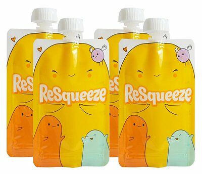 Resqueeze Reusable Food Pouch 6 oz 4-Pack