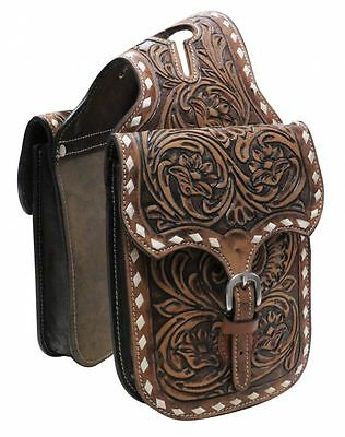 Showman Floral Tooled Leather Horn Bag with Buck Stitch Border! Free Ship!