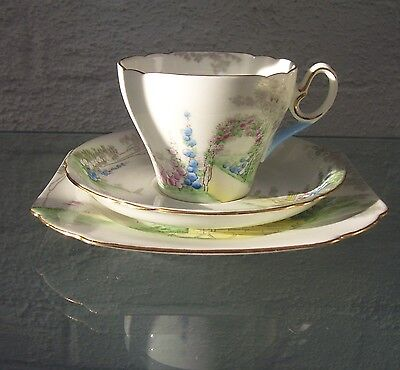Vintage Shelley china trio Archway of Roses pattern