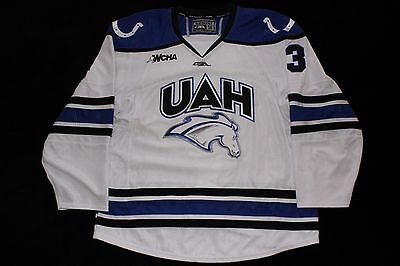 Uah #3 Alabama Huntsville Chargers Game Worn Used 15-16 Home Hockey Jersey Wcha