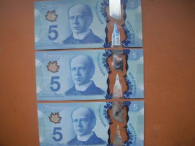 Set of Three  NEW Sequential UNC Canadian Polymer $5 Banknotes