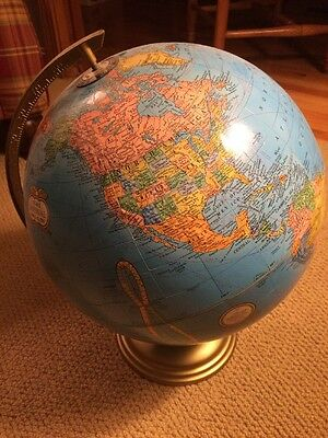 "Cram's Imperial World Rotating 12"" Diameter Globe Table Top w/ Gold Metal Stand"