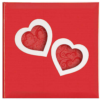 "Love Heart Photo Album in Red & White Design - Holds 200 6x4"" Photos - Slip in"