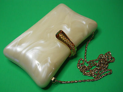 Vintage Lisette Ivory Gold Mother Or Pearl Clutch/evening Bag Purse Lot D1