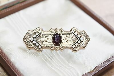 VICTORIAN Rolled Gold 2.5ct GARNET Taille D'epergne C Clasp pin Brooch 5g