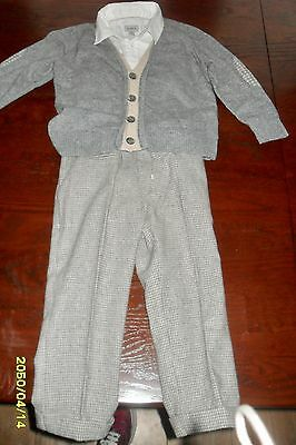 Baby A.country Gent,grey Tweed Outfit,trousers,shirt & Jacket/jumper Age 3