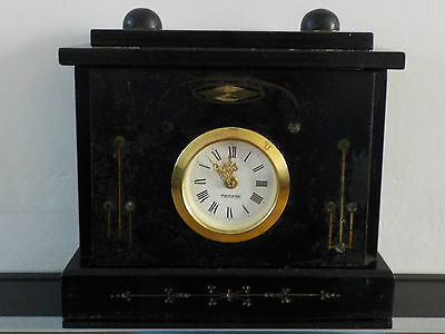 Circa 1870 Mercedes Black Slate Mantel Clock Family Collection (WORKING)