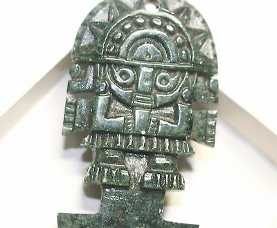 AZTEC MAYAN WARRIOR green Jade pendant carved natural stone, 70 x 35 mm, vintage