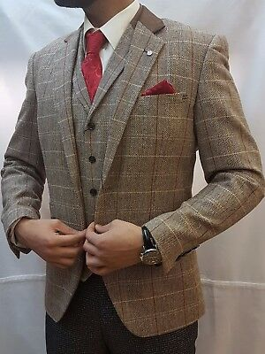 Men's Designer  Oak Tan Tweed  Herringbone Vintage  Jacket Checked  Blazer