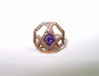 Vintage Fraternal Masonic Lodge Freemason Goldplated Old Screw Back Lapel Pin