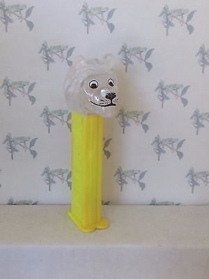PEZ Kooky Zoo - Clear Crystal Lion / Yellow 4.9  Hungary- poor stem color -loose