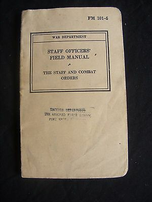 1940 WW2 - Vintage US Army Book - Staff Officers Field Combat Orders - Fort Knox