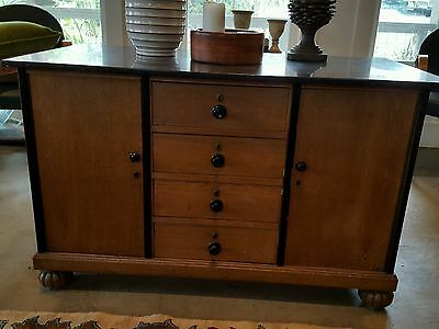 Antique Beidermeer style wash stand / server with black marble top.
