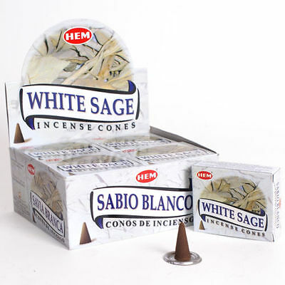 LOT OF 60 HEM WHITE SAGE Cone Incense 6 Box OF 10 Cones = 60 Cone ALWAYS FRESH