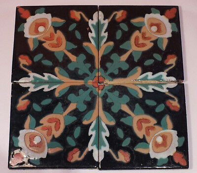 California Mission Style TILE Set of 4 Arts & Crafts Vintage Art Pottery Table