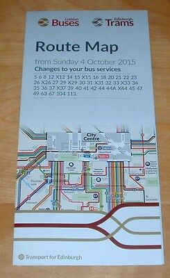 Lothian Buses Edinburgh Full Colour Route Map And Bus Guide - October 2015