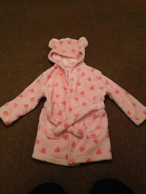 Girls Pink Fluffy Dressing Gown 12-18 Months Good Condition