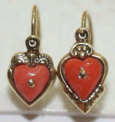 2 Single Antique Victorian 9K Gold Salmon Coral Small Love Heart Earrings 1900