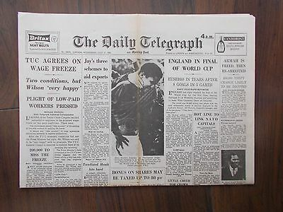 VINTAGE NEWSPAPER DAILY TELEGRAPH JULY 27th 1966 ENGLAND IN FINAL OF WORLD CUP