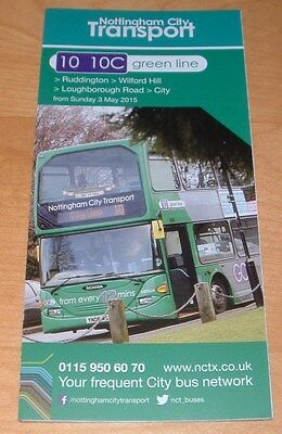 Nottingham City Transport Bus Timetable - Green Line Routes 10 & 10C - May 2015