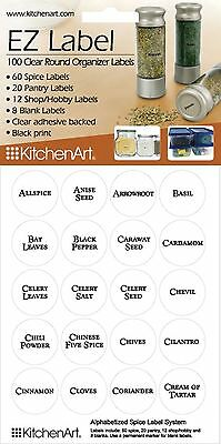 KitchenArt 100 Clear Round Spice Pantry Labels Clear with Black Lettering