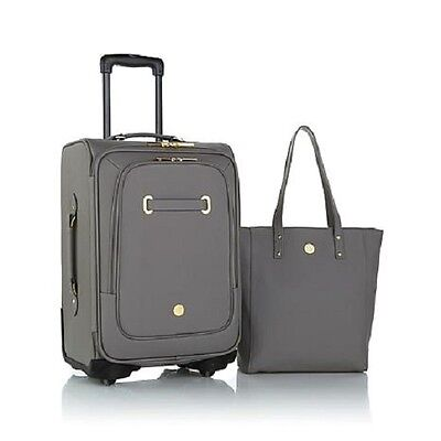 JOY Rich Leather Luggage Ensemble with Revolutionary Spinball Wheels - Gray