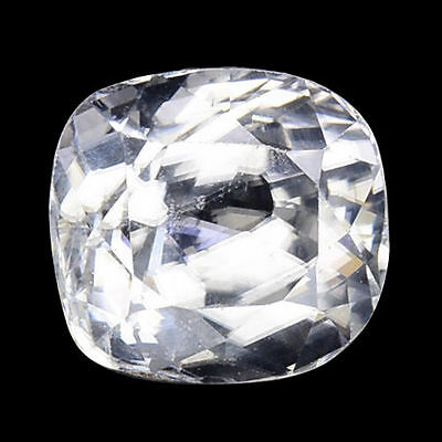 2.615Cts Pleasant Top Luster White Natural Zircon Cushion Loose Gemstones