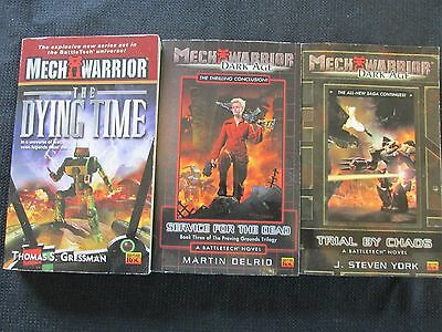 Lot of 3 Mech Warrior Books Trial by Chaos, The Dying Time, Service for the Dead