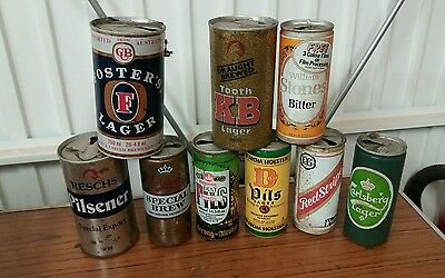 collection of vintage lager beer cans