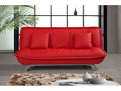 Premiere 3 Seater Sofa bed in bonded leather Red -- Free Cushions - Chrome legs