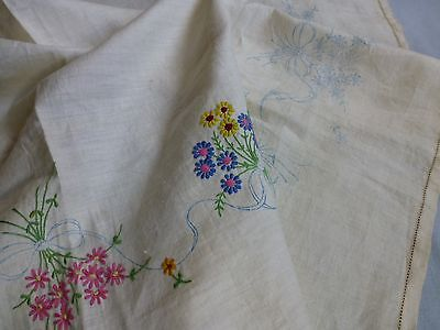 Vintage 30's style linen tablecloth for embroidering - part completed project