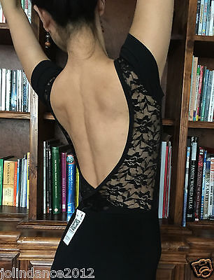 Professional lady or girl ballet dance leotard with low lace back - New