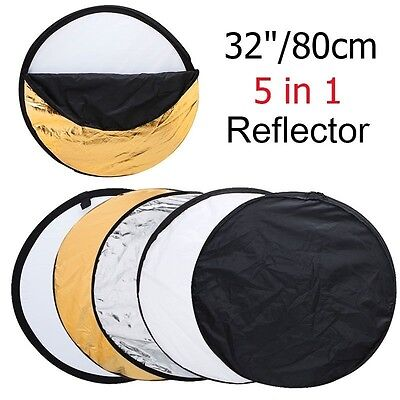 """32"""" 80cm 5 in 1 New Portable Collapsible Light Round Photography/Photo Reflector"""