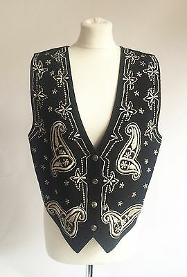 Vintage Black Suede Embroidered Waistcoat By Rare Size Medium Hippy Boho