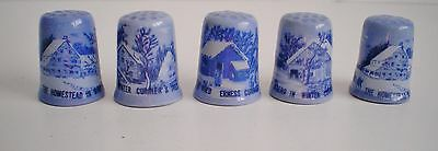 5 Currier & Ives Thimbles Farmers Home The Homestead In Winter In The Wild Euc