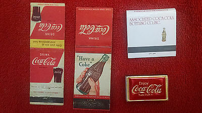 Coca-Cola matchbooks-(4) 1940's, 50's and newer-Foil box, wooden matches NICE!