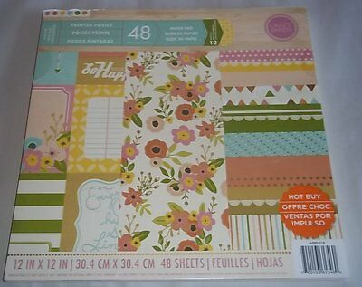 Craft Smith Painted Posies 48 sheets 12 x 12 Paper Pad New