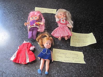 3 Vtg Mini Dolls W Clothes Pinky Flatsy Remco Tressy Hair Grows String On Foot