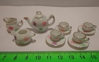 1:12 Scale Ceramic 11 Piece Pink & White Floral Doll House Miniature Tea Set FD