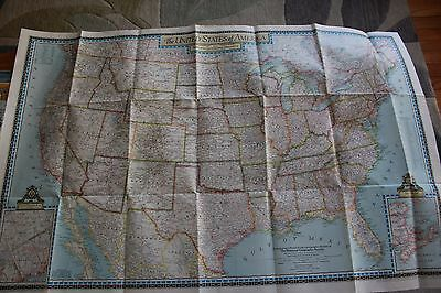 National Geographic Map The United States Of America July 1946 Thick Paper