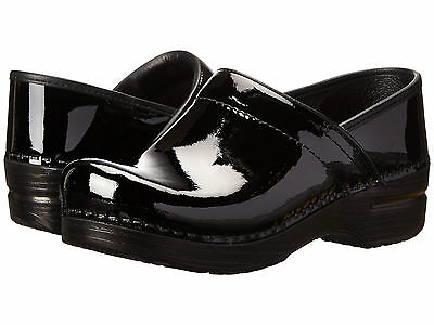 Dansko PROFESSIONAL Womens Patent Black Leather Slip On Closed Back Clog Shoes