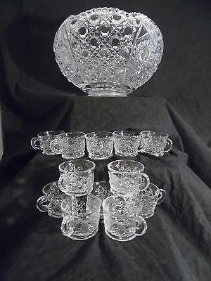 Vintage L.E. Smith Cut Glass/Crystal Punch Bowl & Cups Set, 'Daisies & Buttons'