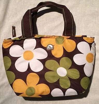 Igloo Thermal Insulated Personal Lunch Cooler Tote Bag Brown Floral