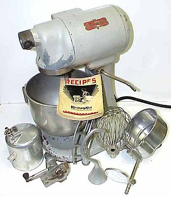 VTG Kitchenaid Md. G, 3 Speed Stand Mixer w/Attachments & Orig Manual Hobart N50