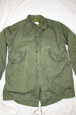 Vtg 80s 1982 US Army Fish Tail Parka W/ Liner Coat Cold Weather Sz M M-65 Mod