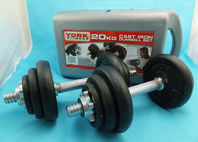 York Fitness Training Weights Cast Iron Dumbbell Set and Case - Black 20 Kg