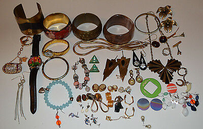 Vintage jewellery job lot earrings watches necklace bracelet some modern